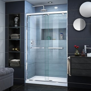 DreamLine Encore 32 in. D x 48 in. W x 78 3/4 in. H Frameless Bypass Sliding Shower Door and SlimLine Shower Base Kit