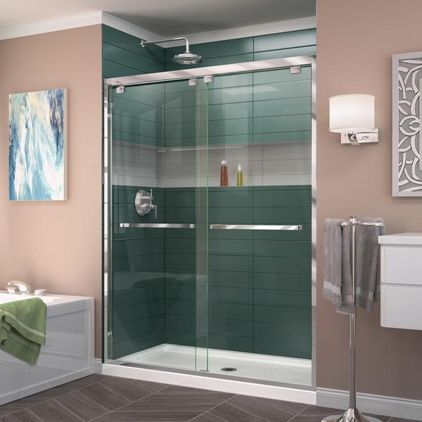 DreamLine Encore 34 in. D x 48 in. W x 78 3/4 in. H Frameless Bypass Sliding Shower Door and SlimLine Shower Base Kit