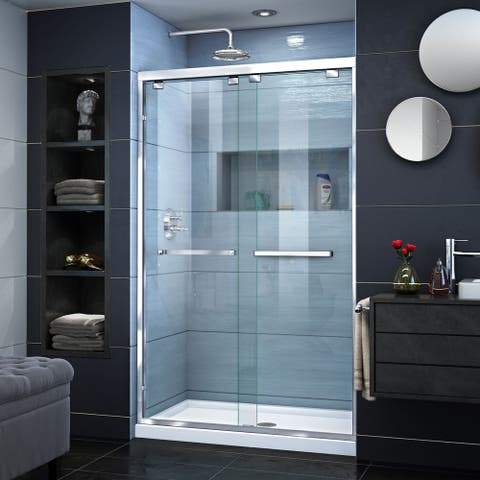 "DreamLine Encore 34 in. D x 48 in. W x 78 3/4 in. H Bypass Sliding Shower Door and Shower Base Kit - 34"" x 48"""