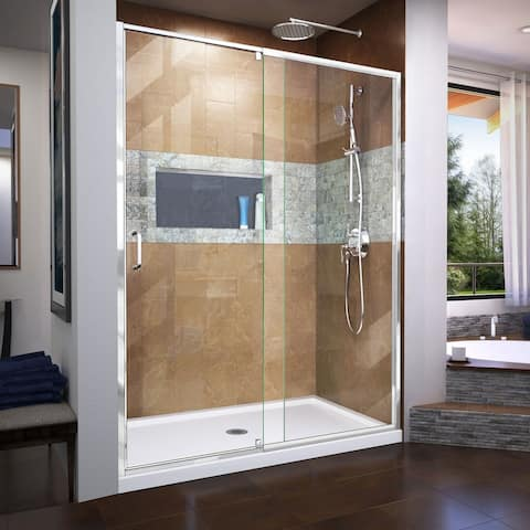 "DreamLine Flex 30 in. D x 60 in. W x 74 3/4 in. H Pivot Shower Door and Shower Base Kit - 30"" x 60"""