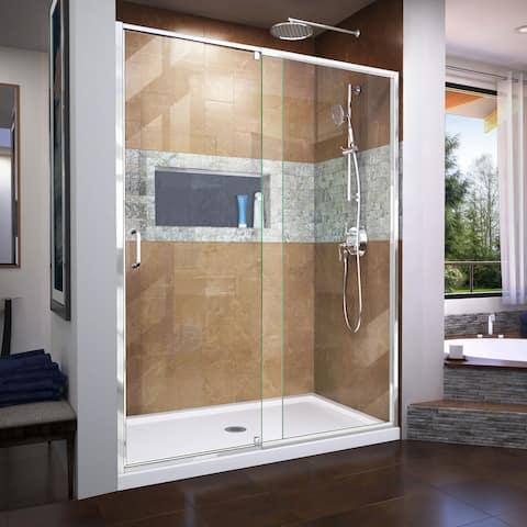 "DreamLine Flex 34 in. D x 60 in. W x 74 3/4 in. H Pivot Shower Door and Shower Base Kit - 34"" x 60"""