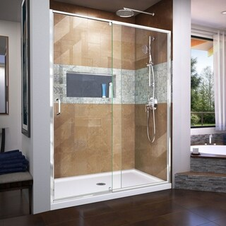 DreamLine Flex 34 in. D x 60 in. W x 74 3/4 in. H Frameless Pivot Shower Door and SlimLine Shower Base Kit