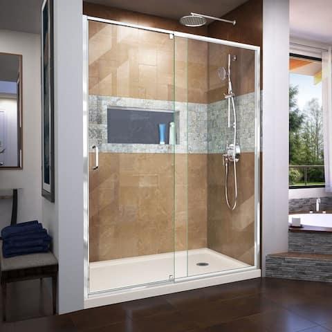 "DreamLine Flex 36 in. D x 60 in. W x 74 3/4 in. H Pivot Shower Door and Shower Base Kit - 36"" x 60"""