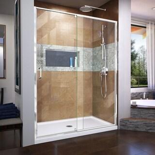 DreamLine Flex 36 in. D x 60 in. W x 74 3/4 in. H Frameless Pivot Shower Door and SlimLine Shower Base Kit (More options available)