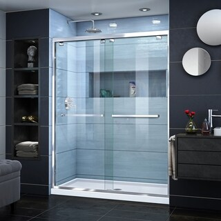 DreamLine Encore 32 in. D x 54 in. W x 78 3/4 in. H Frameless Bypass Sliding Shower Door and SlimLine Shower Base Kit