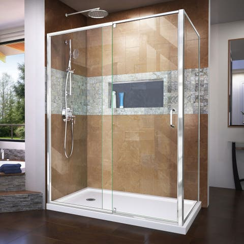 """DreamLine Flex 36 in. D x 60 in. W x 74 3/4 in. H Pivot Shower Enclosure and Shower Base Kit - 36"""" x 60"""""""
