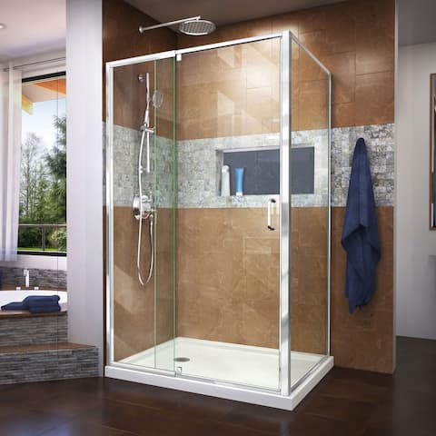 """DreamLine Flex 36 in. D x 48 in. W x 74 3/4 in. H Pivot Shower Enclosure and Shower Base Kit - 36"""" x 48"""""""