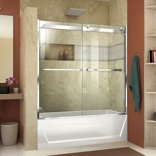 DreamLine Linea Single Panel Open-Entry Shower Screen 30 in. W x 72 in. H, Frosted Band Glass (4 options available)