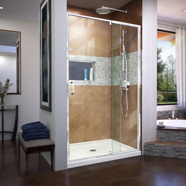 DreamLine Flex 32 in. D x 42 in. W x 74 3/4 in. H Frameless Pivot Shower Door and SlimLine Shower Base Kit