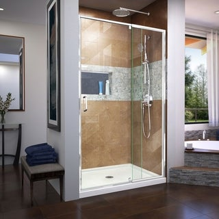 "DreamLine Flex 32 in. D x 42 in. W x 74 3/4 in. H Pivot Shower Door and Shower Base Kit - 32"" x 42"""
