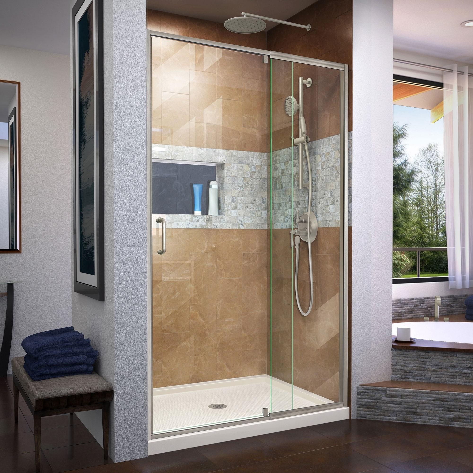 Dreamline Flex 32 In D X 42 In W X 74 3 4 In H Pivot Shower Door And Shower Base Kit 32 X 42
