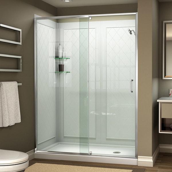 DreamLine Flex 32 in. D x 60 in. W x 76 3/4 in. H Frameless Pivot Shower Door, SlimLine Base and QWALL-5 Acrylic Backwall Kit