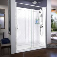DreamLine Flex 34 in. D x 60 in. W x 76 3/4 in. H Frameless Pivot Shower Door, SlimLine Base and QWALL-5 Acrylic Backwall Kit