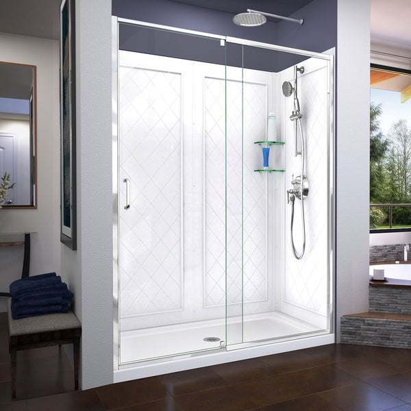 DreamLine Flex 36 in. D x 60 in. W x 76 3/4 in. H Frameless Pivot Shower Door, SlimLine Base and QWALL-5 Acrylic Backwall Kit