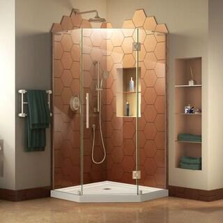 DreamLine Prism Plus 42 in. x 42 in. x 74 3/4 in. Frameless Hinged Shower Enclosure and SlimLine Shower Base Kit