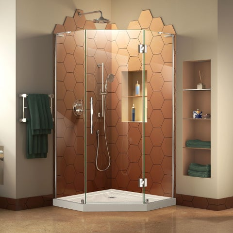 DreamLine Prism Plus 42 in. x 42 in. x 74 3/4 in. Frameless Hinged Shower Enclosure and SlimLine Shower Base Kit