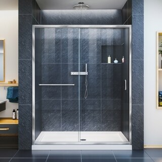 DreamLine Infinity-Z 32 in. D x 54 in. W x 74 3/4 in. H Sliding Shower Door and SlimLine Shower Base Kit, Clear Glass