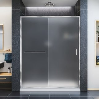 DreamLine Infinity-Z 32 in. D x 54 in. W x 74 3/4 in. H Sliding Shower Door and SlimLine Shower Base Kit, Frosted Glass