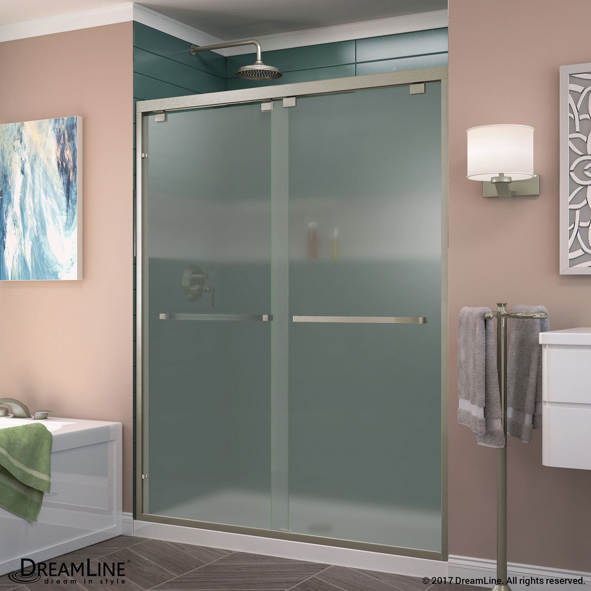 Dreamline Encore 56 60 In W X 76 In H Semi Frameless Bypass Sliding Shower Door Frosted Glass 56 60 W