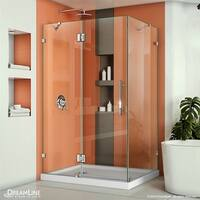 DreamLine Quatra Lux 34 1/4 in. D x 58 3/8 in. W x 72 in. H Frameless Hinged Shower Enclosure with Support Arms