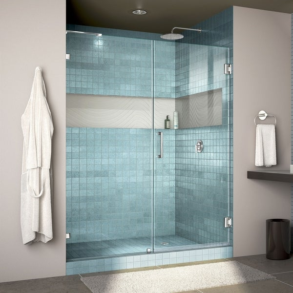 "DreamLine Unidoor Lux 57 in. W x 72 in. H Fully Frameless Hinged Shower Door with L-Bar - 57"" W"