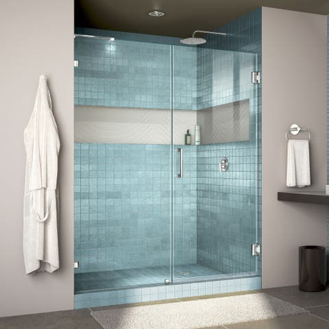 """DreamLine Unidoor Lux 58 in. W x 72 in. H Fully Frameless Hinged Shower Door with L-Bar - 58"""" W"""