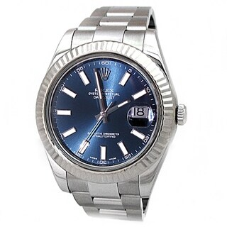 Pre-owned 41mm Rolex Stainless Steel Oyster Perpetual Datejust II Watch with Blue Dial