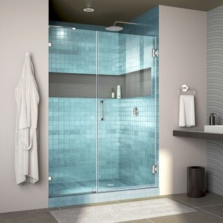 DreamLine Unidoor Lux 46 in. W x 72 in. H Fully Frameless Hinged Shower Door with L-Bar - 46 in. w x 72 in. h