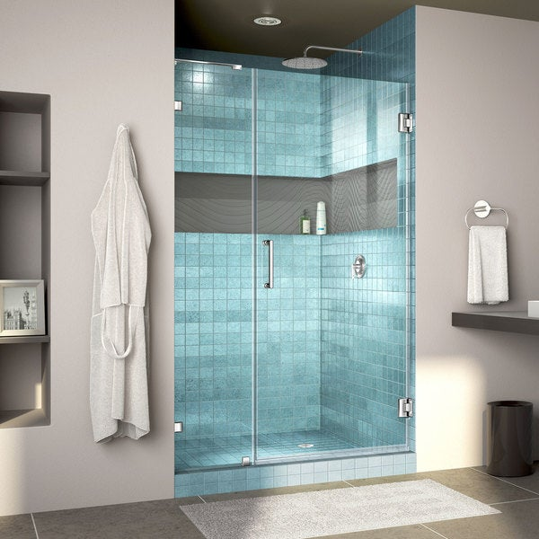 DreamLine Unidoor Lux 42 in. W x 72 in. H Fully Frameless Hinged Shower Door with L-Bar