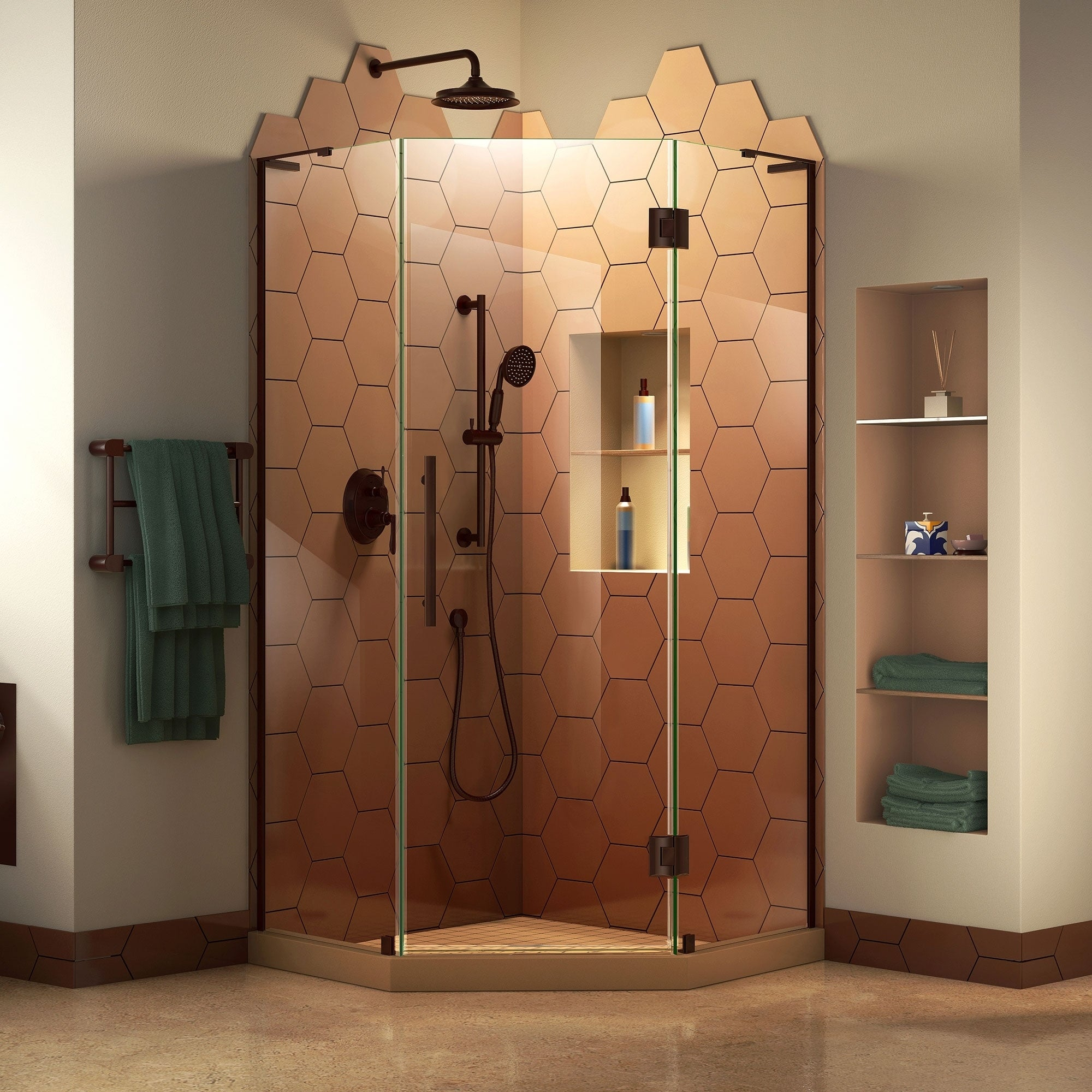 Dreamline Prism Plus 34 In X 34 In X 72 In Frameless Hinged Shower Enclosure 34 X 34