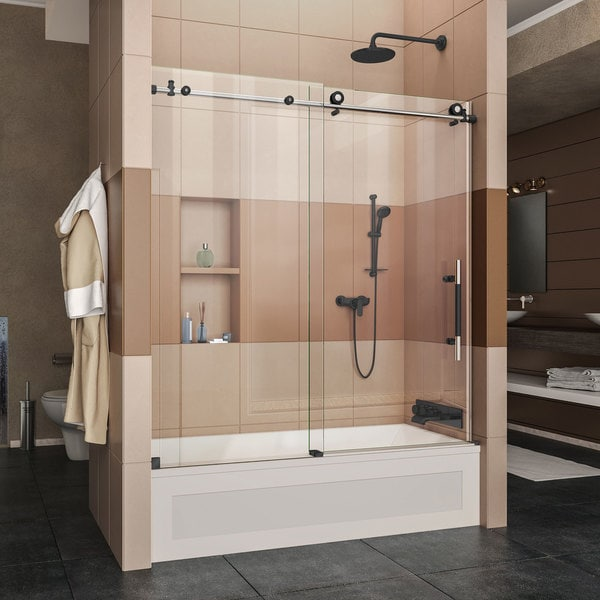 DreamLine Enigma-XT 56-59 in. W x 62 in. H Fully Frameless Sliding Tub Door - 55-59 inches w x 62 inches h