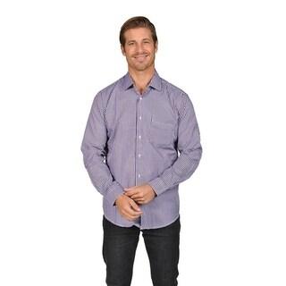 Mens Striped Button Down Shirts Purple Black White