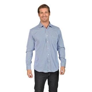 Mens Button Down Shirts Gingham Check Brown