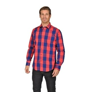 Mens Checkered Button Down Shirts Red Navy