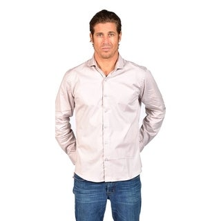 Demanded Mens Slim Fit Button Down Dress Shirt Silver
