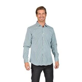 Mens Button Down Shirts Gingham Check Green