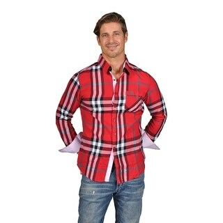 Men's Plaid Button-Down Dress Shirts Red