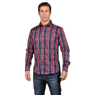 Men's Checkered Long Sleeve Button Down Shirt Red navy