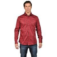 Men's Checkered Long Sleeve Button Down Shirt Red