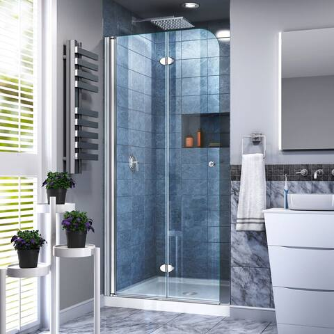 "DreamLine Aqua Fold 32 in. D x 32 in. W x 74 3/4 in. H Bi-Fold Shower Door and Shower Base Kit - 32"" x 32"""