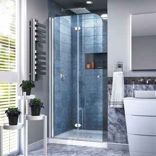 DreamLine Aqua Fold 36 in. D x 36 in. W x 74 3/4 in. H Frameless Bi-Fold Shower Door and SlimLine Shower Base Kit