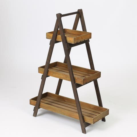 Brown Wood 3 Tier Ladder Plant Stand