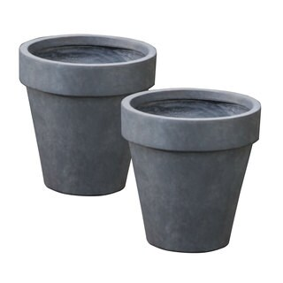 Set of 2 Stone Finish Traditional Planters