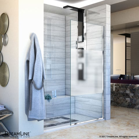 DreamLine Linea Single Panel Open-Entry Shower Screen 34 in. W x 72 in. H, Frosted Band Glass