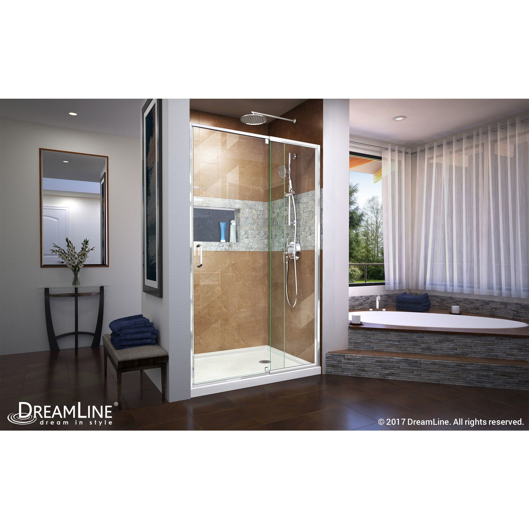 Dreamline Flex 38 42 In W X 72 In H Semi Frameless Pivot Shower Door 38 42 W