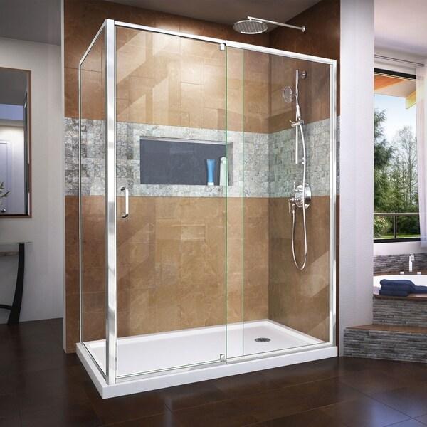 DreamLine Flex 34 1/2 in. D x 56-60 in. W x 72 in. H Semi-Frameless Pivot Shower Enclosure