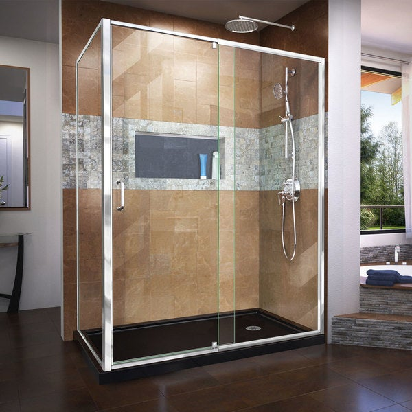 DreamLine Flex 34 in. D x 56-60 in. W x 72 in. H Frameless Pivot Shower Enclosure