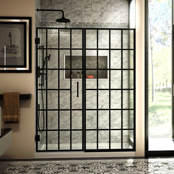 DreamLine Unidoor Toulon 58-58 1/2 in. W x 72 in. & DreamLine Unidoor Toulon 58-58 1/2 in. W x 72 in. H Frameless ...