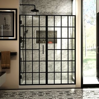 "DreamLine Unidoor Toulon 58-58 1/2 in. W x 72 in. H Frameless Hinged Shower Door - 58"" - 58.5"" W"
