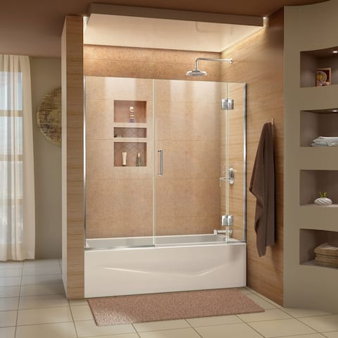 DreamLine Unidoor-X 58-58 1/2 in. W x 58 in. H Frameless Hinged Tub Door
